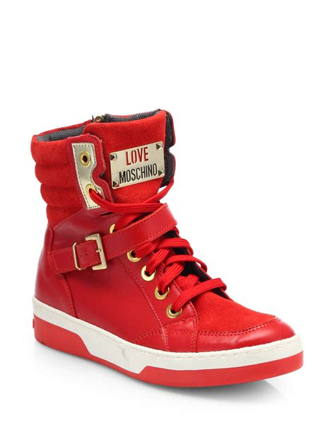 High By Moschino by Moschino Chain Leather Hightop Sneakers In Lyst