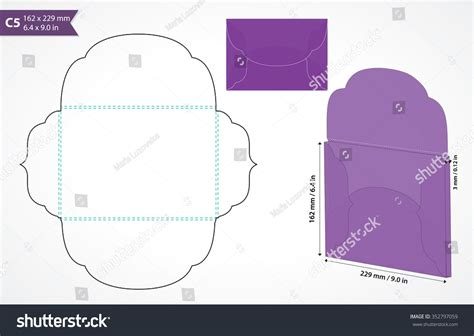 envelope pattern vector die cut c5 vector envelope template stock vector 352797059