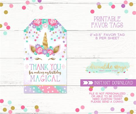 printable unicorn thank you tags unicorn thank you tag unicorn party favor tag unicorn favor