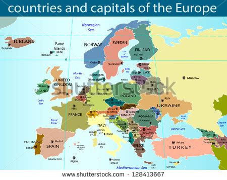 europe map with country names and capitals european map all europe countries name stock vector