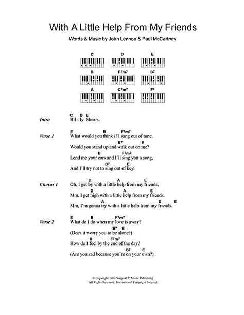 my lyrics with piano chords with a help from my friends sheet by the