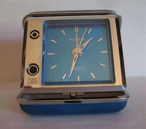 bulova travel alarm clock   interstate bank logo