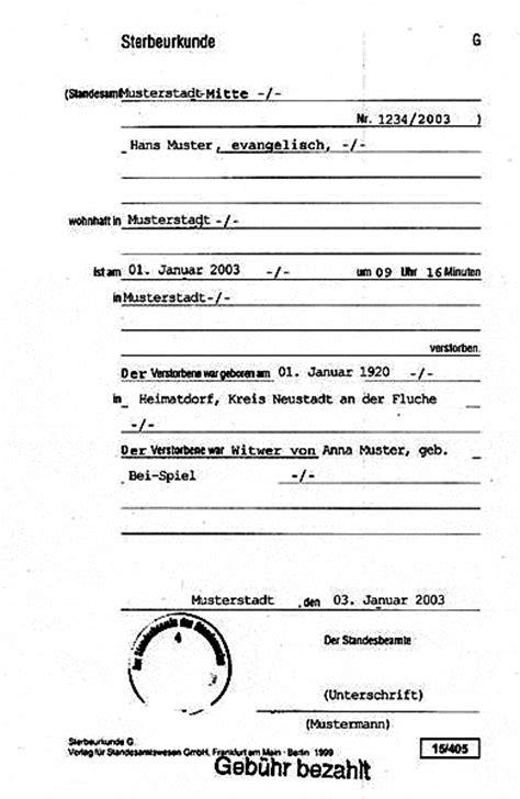 Muster Rechnung Leichenschau Wie Sieht Eine Sterbeurkunde Aus Bestatterweblog Wilhelmbestatterweblog Wilhelm