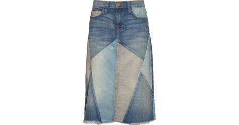 Patchwork Denim Skirt - current elliott patchwork denim skirt in blue denim lyst