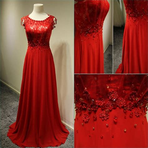 Aliexpress Gowns | aliexpress com buy stunning scoop cap sleeve red chiffon