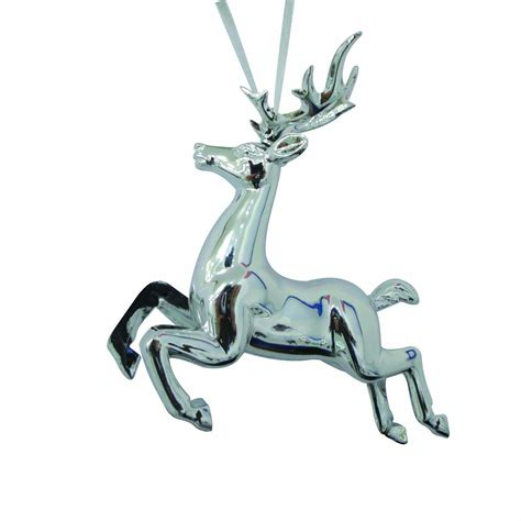 jaclyn smith 3d silver reindeer christmas ornament deer