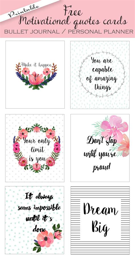 free printable planner quotes free printable bullet journal cards personal planner