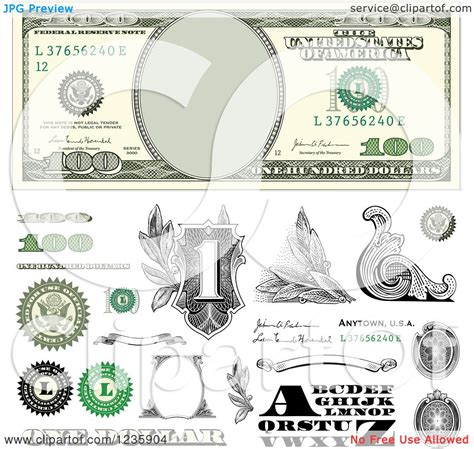 money dollars and design elements vector clipart of a one hundred dollar bill and money design