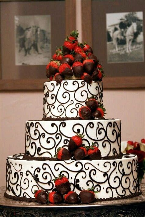 Chocolate Covered Strawberries Decorations by Black And White Detailed Wedding Cake With Chocolate
