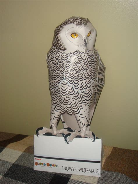 Owl Papercraft - snow owl papercraft by elfbiter on deviantart