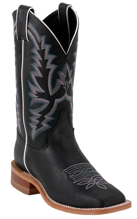 black square toe boots justin 174 bent rail black punchy wide square toe