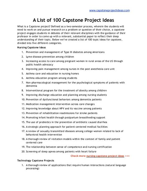 capstone project template list of 100 best capstone project ideas