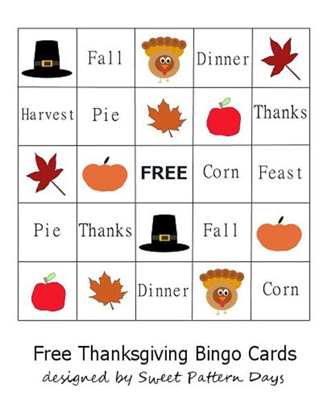 free printable thanksgiving picture bingo cards printable thanksgiving bingo cards preschool pinterest