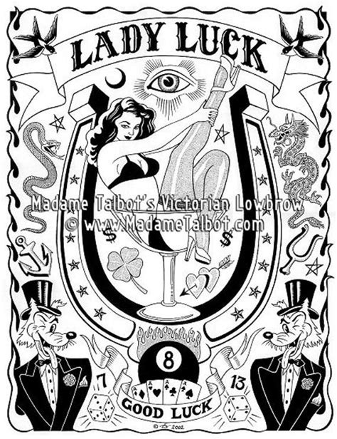 lady luck tattoo designs luck lowbrow lucky fortune poster madame