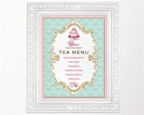 high tea party menu sign kitchen tea bridal shower sign french