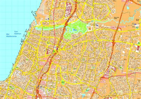 tel aviv map tel aviv vector map eps illustrator vector maps of asia