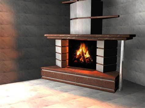 fireplace contemporary design 3ds 3d studio max software architecture objects