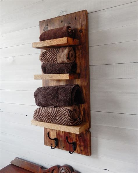 Wooden Shelves For Bathroom Rustic Bathroom Shelves With Hooks Designs By