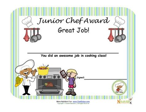 cooking certificate template cooking with is a great way to encourage children to