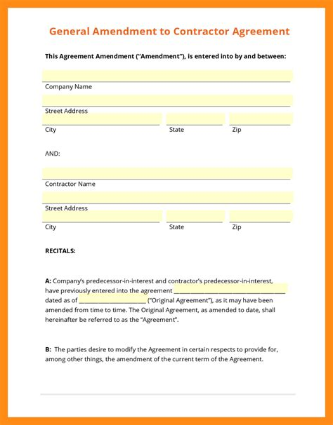 contract amendment template best resumes