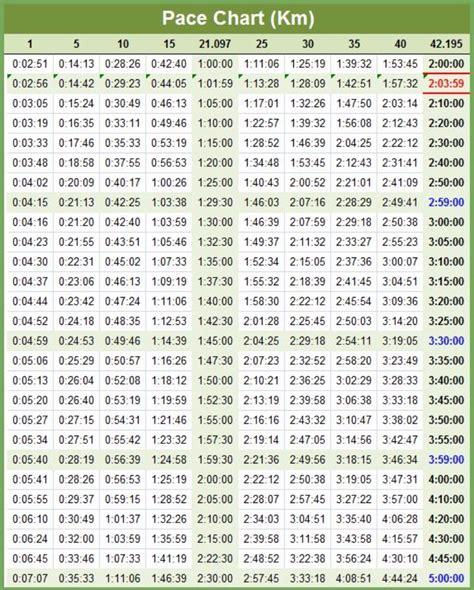 marathon pace chart 25 free marathon pace charts half marathon pace chart