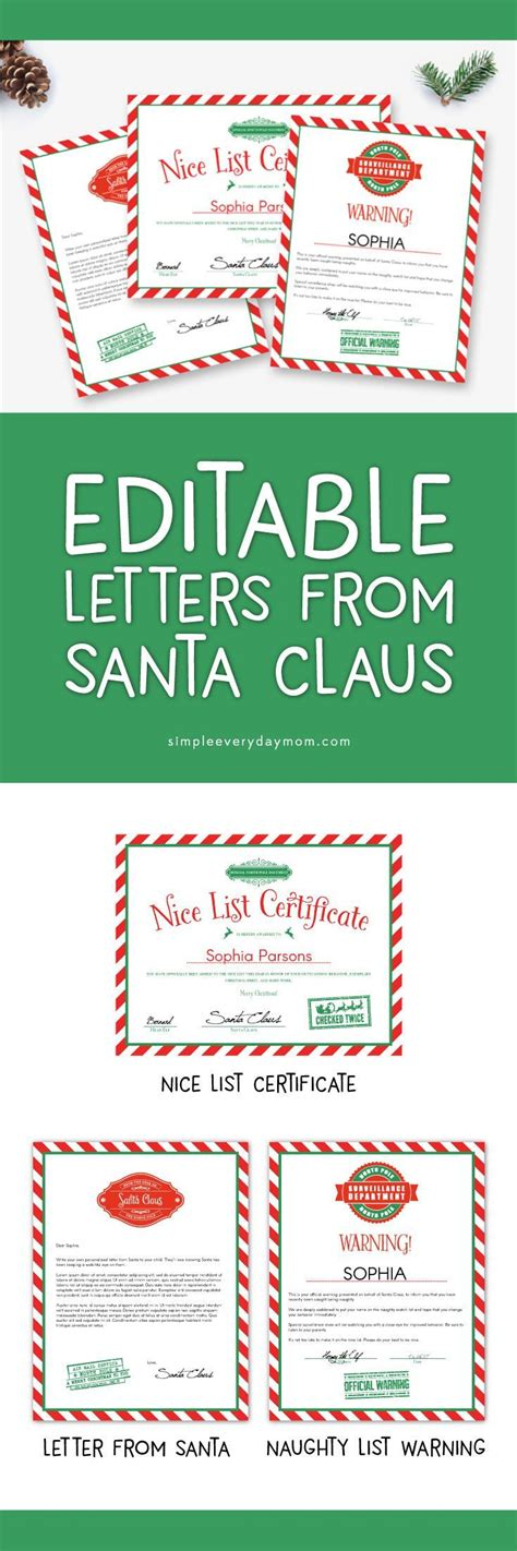 editable letters santa santa letter printable