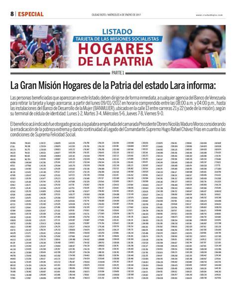 listado de hogares de la patria 2016 listado hogares de la patria edo lara by ciudad bqto