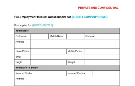 medical questionnaire pre employment template bizorb