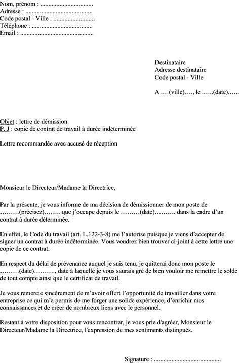 Exemple De Lettre De Demission Sans Contrat De Travail Exemple Lettre De Demission Commun Accord