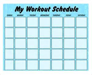 blank workout schedule template 4 workout schedule templates