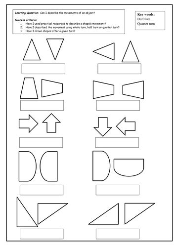 printable half and quarter worksheets half and quarter turns by slinwood teaching resources tes