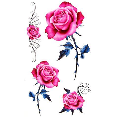 tatouage ephemere rose fleur de style old