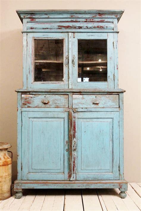 The Vintage Cupboard - antique kitchen cupboard storage cabinet armoire indian blue