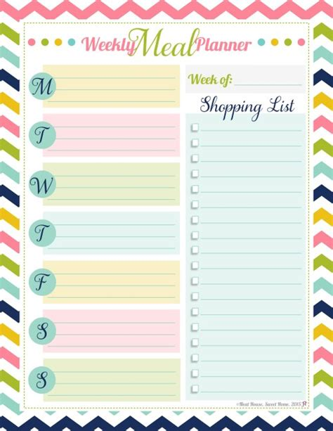 happy planner monthly printable weekly meal planner free printable weekly meal planner