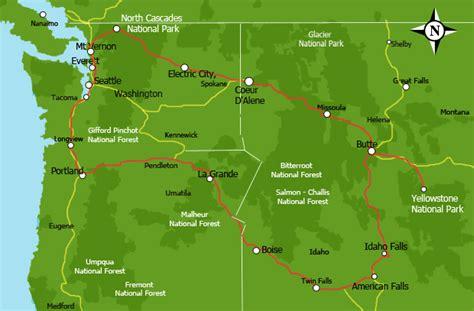 map of national parks in northwest us jurnii rv rentals northwest usa 13 days itinerary