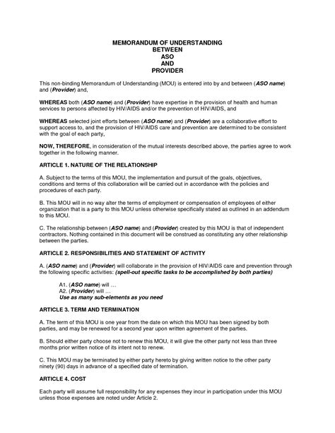 template of memorandum of agreement template for memorandum of understanding in business