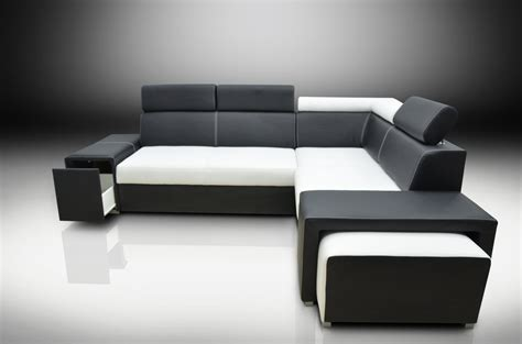 Corner Sofa Bed Bert With Headrests And Footstool Eco Black And White Leather Corner Sofa