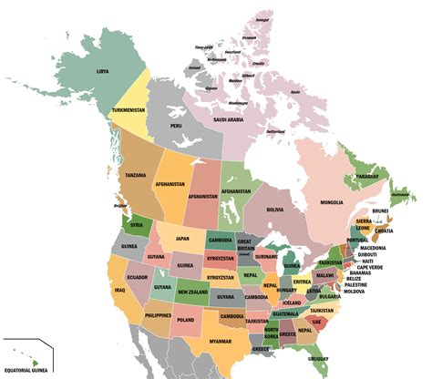 america map showing states and provinces if countries moved to states islands provinces of the us