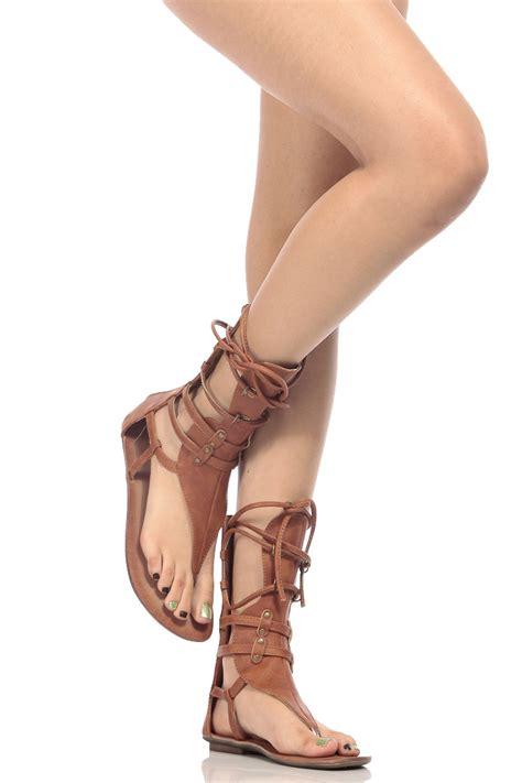 cognac faux leather lace  sandals  cicihot sandals
