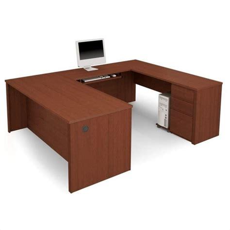 Hardwood Computer Desk Bestar Prestige U Shape Wood Computer Desk With Pedestal 246220