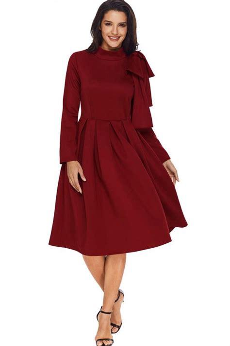 Pleated A Line Midi Dress high collar bow pleated sleeve a line midi dress
