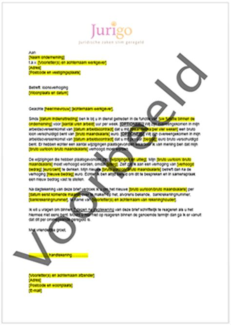 brief opstellen salarisverhoging voorbeeld ontslagbrief