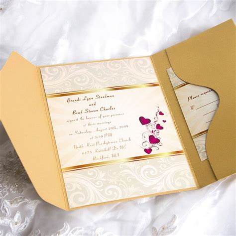 Cheap Gold Wedding Invitations by Cheap Pocket Wedding Invitations From