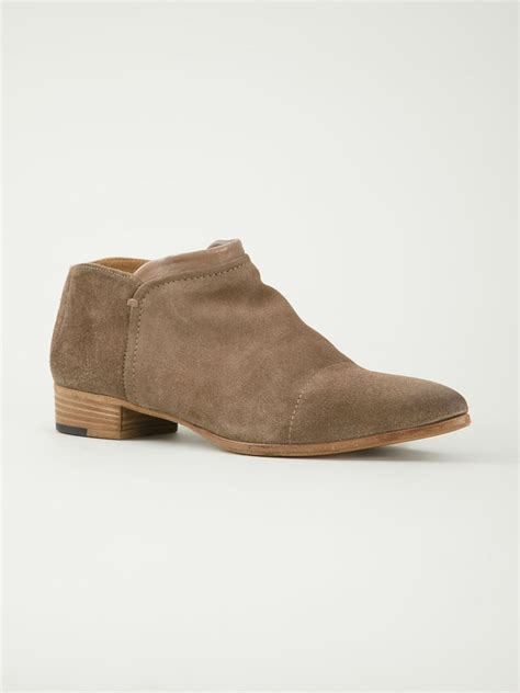 alberto fermani low chunky heel ankle boots in brown lyst
