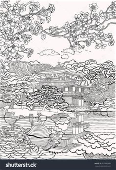 japanese castle coloring page fantasy landscape fairy tale castle stylized swan bird
