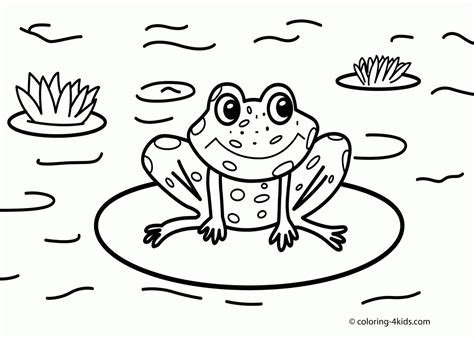 free coloring pages of frog by a pond