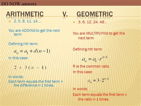 geometric pattern vs arithmetic arithmetic sequences objective ppt video online download