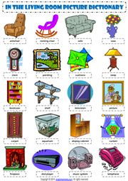 living room items list living room esl printable worksheets and exercises