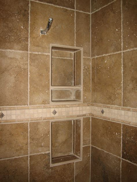 shower recessed tiled shelving and specialty band rk