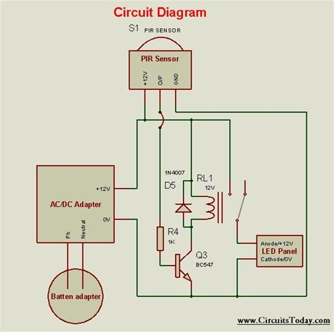 motion sensor light schematic diagram circuit and